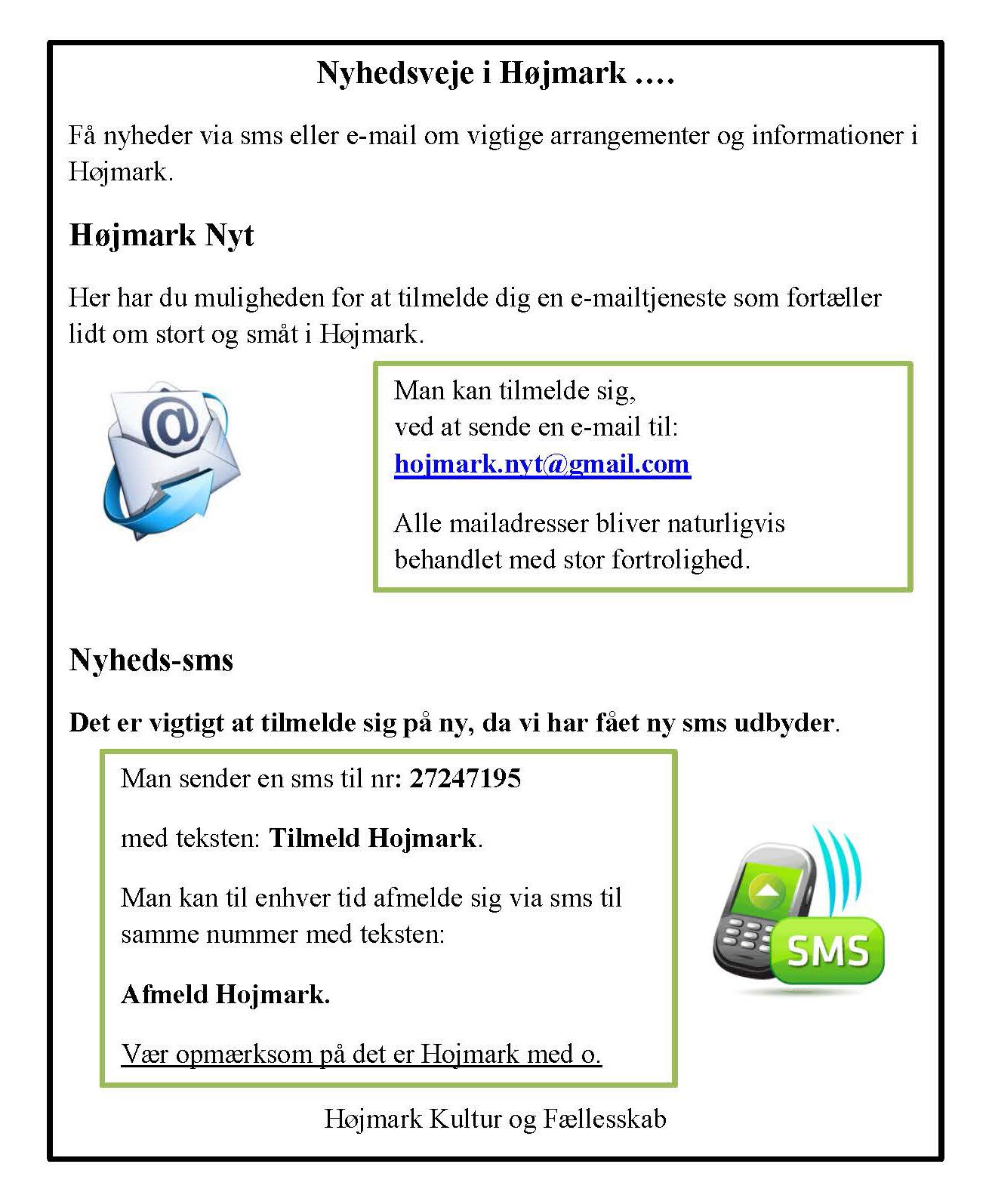 højmark sms og e-mail